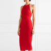 Party Party Big Red Emwear Trim Midi Dress Careful Machine Elegant Dress