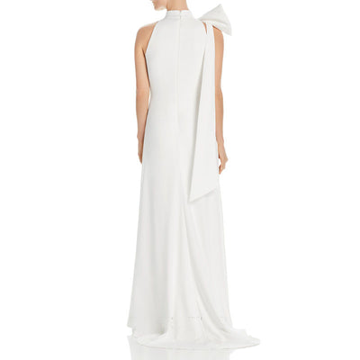 White Long-Style Simple Heart-Machine Temperament Light Yarn Evening Dress