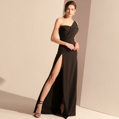 Long Black  High Fork Sexy Brushing Tuxedo Dress
