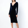 Simple Retro Velvet Medium And Long Sleeved Deep V Dress