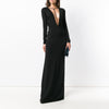 Party Party Annual Meeting Black Long Deep V Long Sleeve Autumn Dress Evening Dress