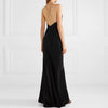 Long Black Sling Dress With Slim Back