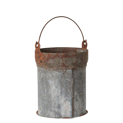 little vintage rusty iron bucket