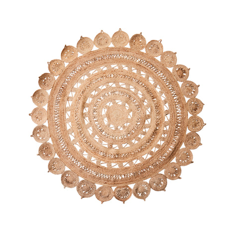 Decorative round jute rug natural braided
