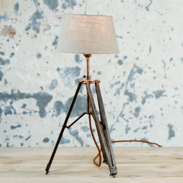Antique Brass Finish Tripod Lamp with Optional Linen Shade - Greige - Home & Garden - Chiswick, London W4