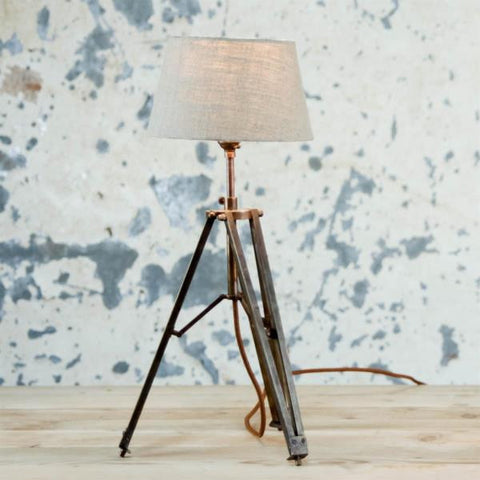 Brass Tripod Table Lamp with Linen Shade