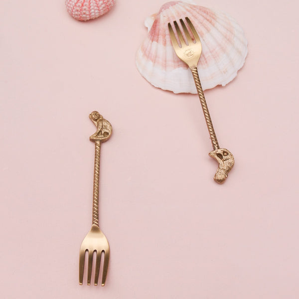 Cheeky Monkey Dessert Forks - Set of Two - Greige - Home & Garden - Chiswick, London W4