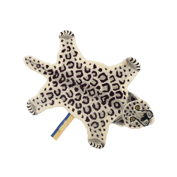 Snowy Leopard Pure Wool Rug from Doing Goods Tapis Amis Collection Small