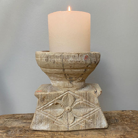 Pillar Candle Holder made from wood salvaged from old Indian houses