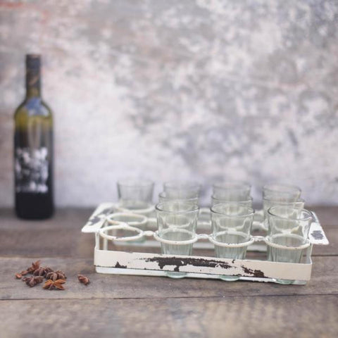 chai tea set with 12 glasses