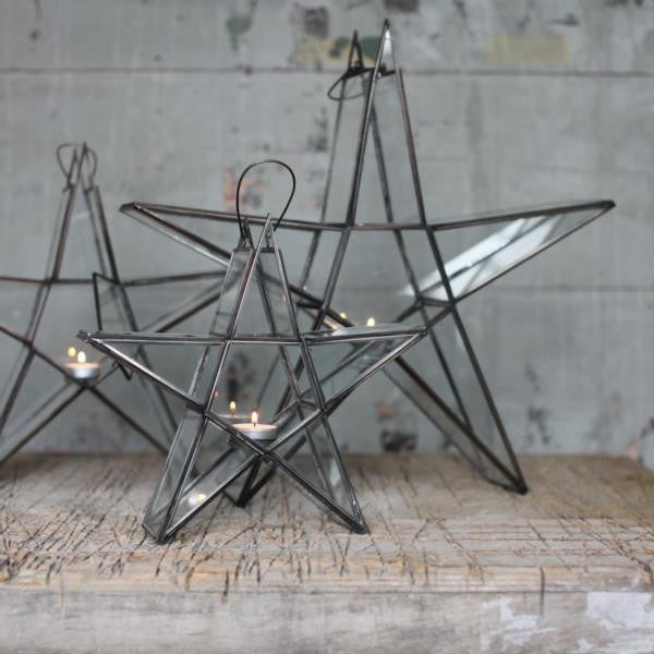 Standing Zinc amp Glass Star Tealight Holder