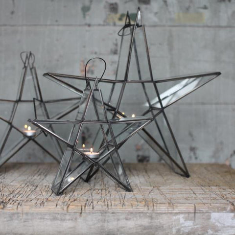 Antique Zinc and glass standing star for tealight