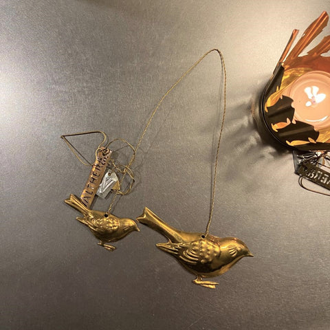 Two Hanging Brass Sparrows Decoration Walther & Co