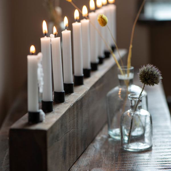 Recycled Wood and Iron Candle Holder for 10 Mini Candles - Greige - Home & Garden - Chiswick, London W4