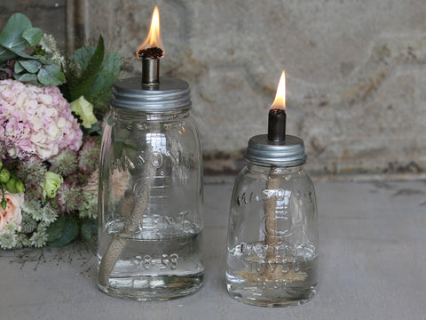 Glass Mason Jar Oil Lamp Two Sizes