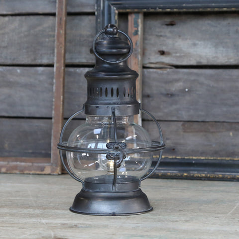 LED lantern french barn style antiqued metal