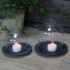 Glass Dome Tealight Lantern on Metal Plate