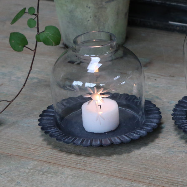 Glass Dome Tealight Lantern on Metal Plate - Greige - Home & Garden - Chiswick, London W4