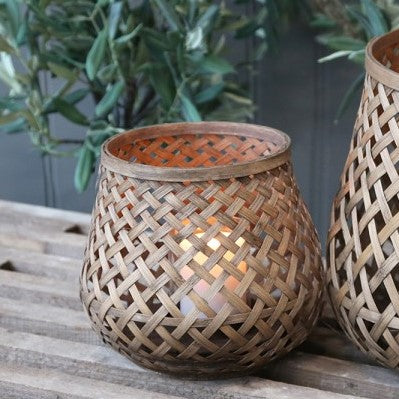 small woven bamboo lantern tabletop no handle