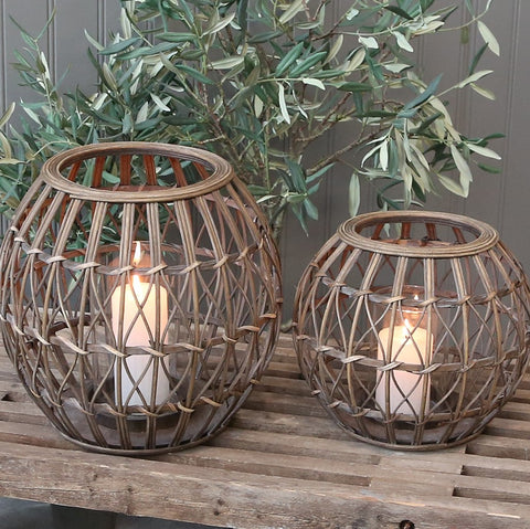 round woven rattan lantern two sizes