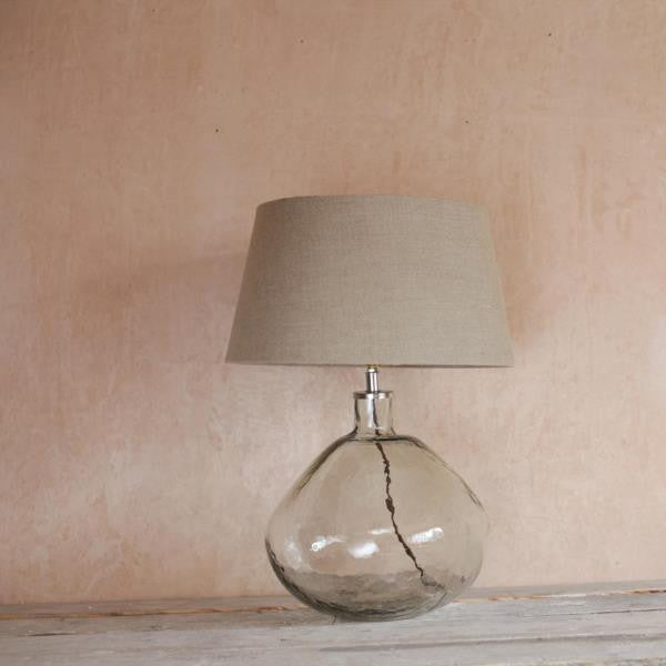 Bulbous Hand Blown Glass Lamp With Linen Shade Greige