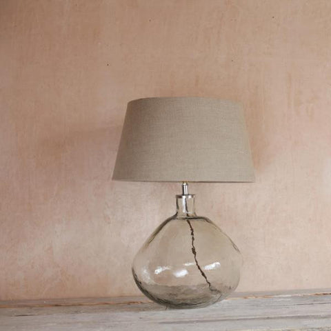Bulbous Hand Blown Glass Lamp with Linen Shade - Greige - Home & Garden - Chiswick, London W4
