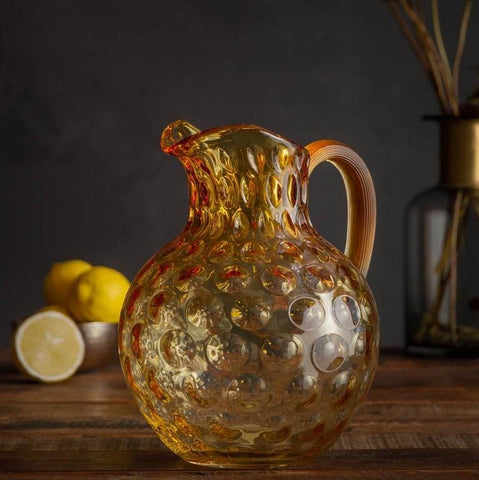 Crystal Bubbles Jug Champagne Light Amber made in Czech
