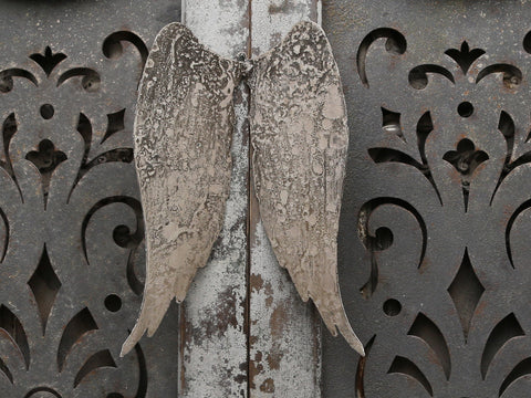 aged metal angel wings for wall art