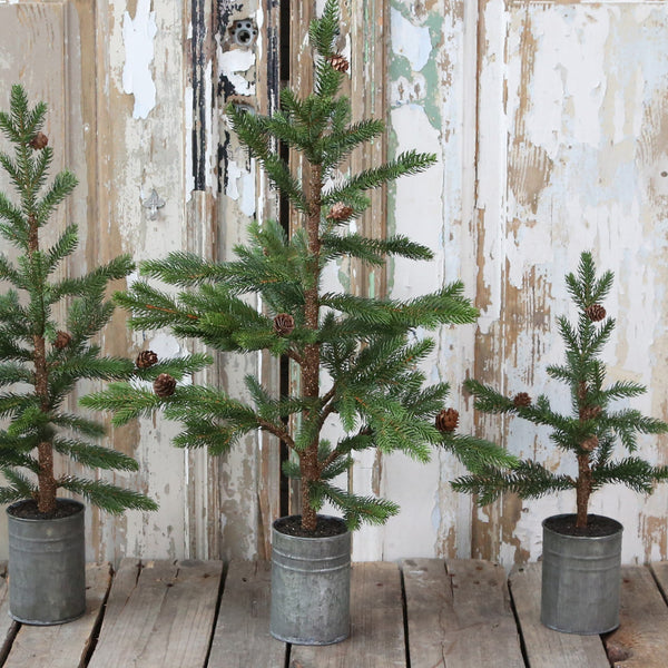Faux Christmas Tree with Cones in Zinc Pot - Three Sizes - Greige - Home & Garden - Chiswick, London W4