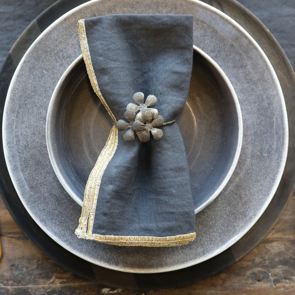 Antique Brass Flower Napkin Ring Set of Four