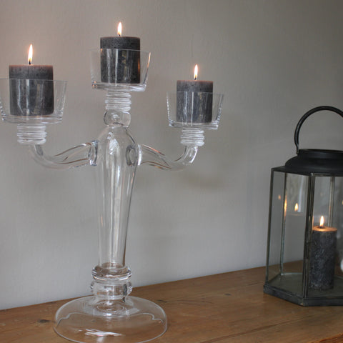 Glass candelabra for Pillar candles