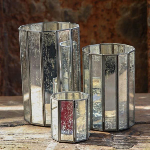 Antique mirrored glass tealight holder and lantern