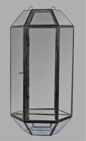 antique zinc and glass wall lantern with mirrored back