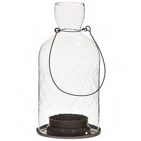 Hanging Etched Glass Bottle Tealight Lanterns - Large - Greige - Home & Garden - Chiswick, London W4