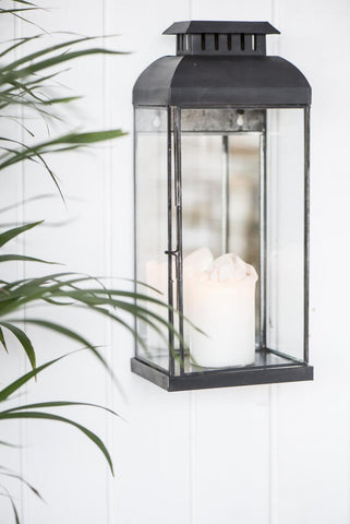 matt black metal and glass wall lantern