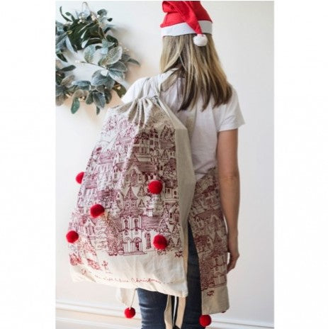 Night Before Christmas Cotton Santa Sack with Red Pom Poms