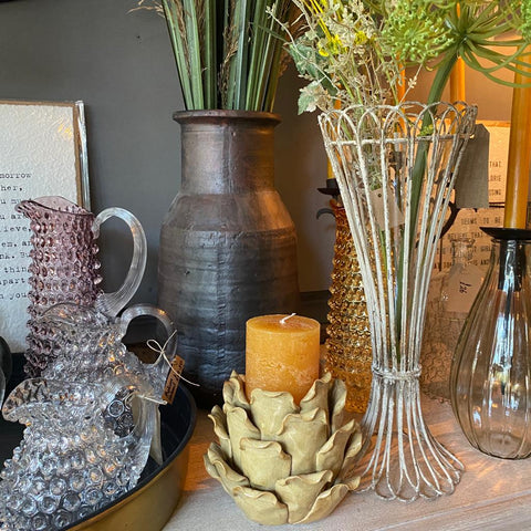 Rustic Tall Wire and Glass Vase