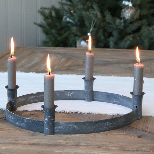 Antique Zinc Advent Candle Holder Wreath Ring
