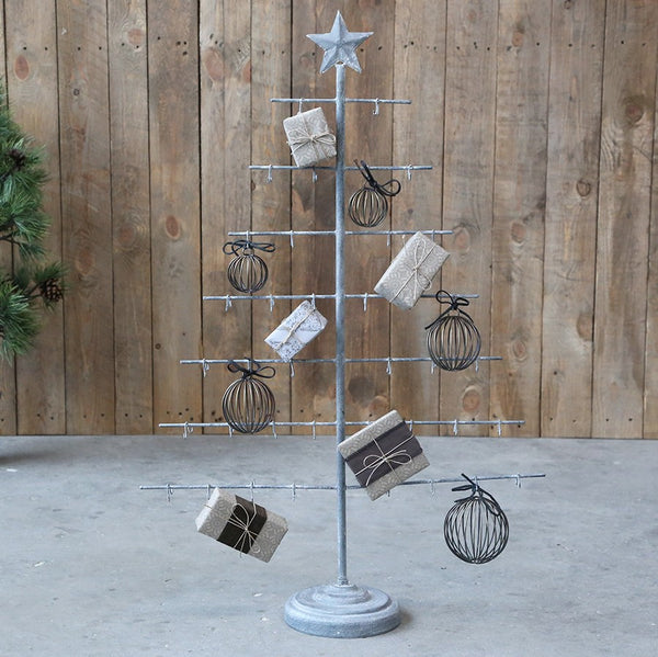 antique zinc christmas tree with hooks