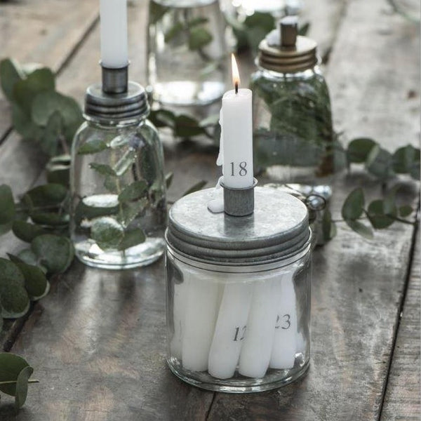 Candle-Holder and Storage Jar for Mini Dinner Candles - Antique Zinc
