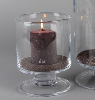 Footed Glass Hurricane Lamps - Various Sizes - Greige - Home & Garden - Chiswick, London W4