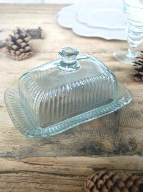 Large Pressed Glass Butter Dish - Greige - Home & Garden - Chiswick, London W4