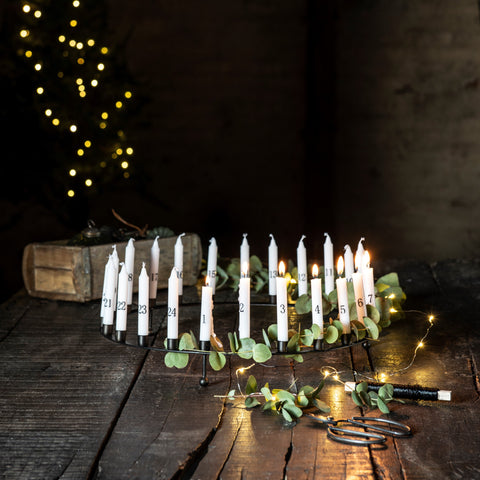 metal advent candle holder for 24 thin taper candles