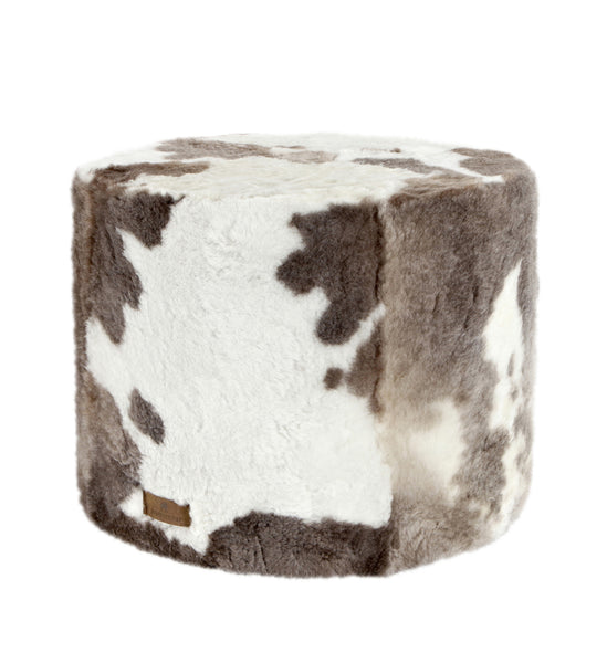 Hilda Round Sheepskin Pouffe or Footstool - Natural Spotty - Greige - Home & Garden - Chiswick, London W4