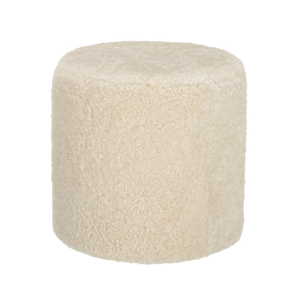 Frida Round Sheepskin Pouffe or Footstool - Cream - Greige - Home & Garden - Chiswick, London W4