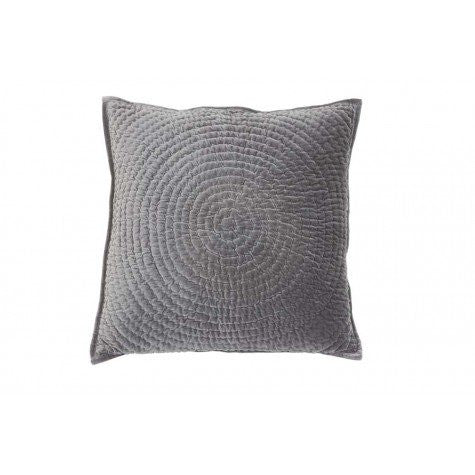 large grey quilted circle velvet cushion 60x60