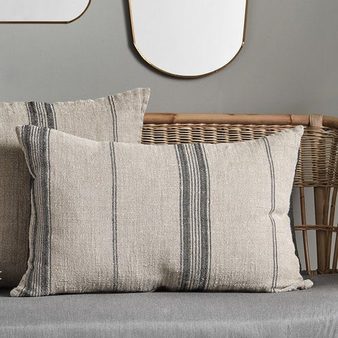 Large Linen Cushion - Natural with Black Stripes