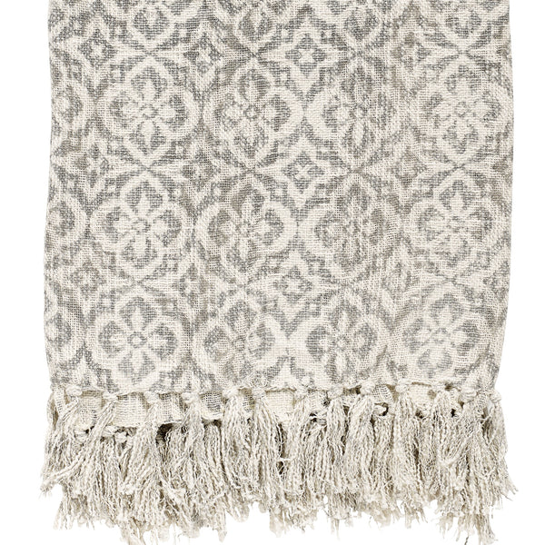 Tasselled Stonewashed Cotton Throw - Natural with Grey Floral Print - Greige - Home & Garden - Chiswick, London W4