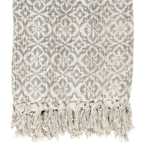 Tasselled Stonewashed Cotton Throw - Natural with Grey Floral Print