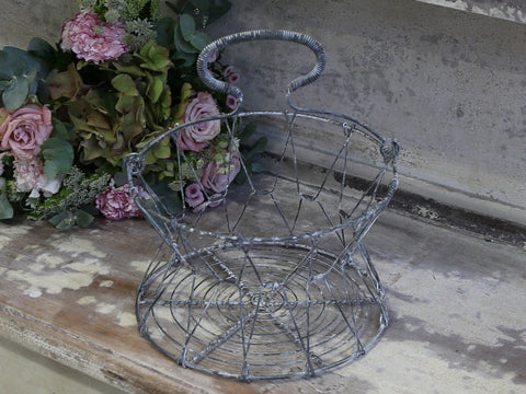 Antique Zinc Wire Egg Basket